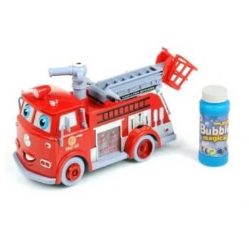 Музыкальная игрушечная пожарная машина со световыми эффектами, пускает мыльные пузыри B838B, на батарейках
