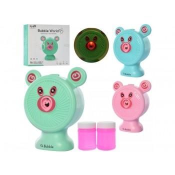 Игрушка Мишка для пускания мыльных пузырей на батарейках, со звуком и светом, с запаской S680-13A (3 цвета)