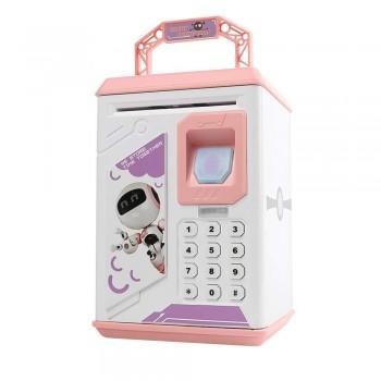 Детская копилка-сейф для бумажных денег MK 4626 с кодовым замком и отпечатком пальца, (цвет розовый)