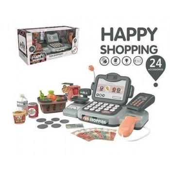 Детский многофункциональный кассовый аппарат 888 K с звуковыми эффектами и аксессуарами 24 предмета в наборе