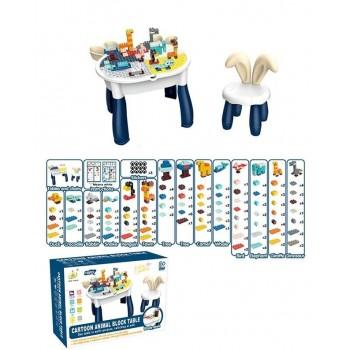 Детский игровой двухсторонний столик со стульчиком, конструктором и наклейками 6872 (132 детали)
