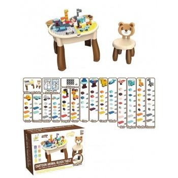 Универсальный, разборной, двухсторонний столик для рисования и игры конструктором 6873 (132 детали)