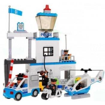 Блочный конструктор для детей, полицейский участок со звуковыми и световыми эффектами JIXIN 8188 A (63 детали)