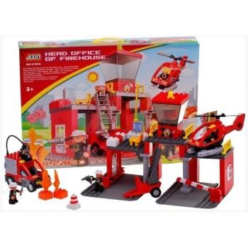 Детский конструктор пожарный участок со звуковыми и световыми эффектами JIXIN 9188 A (70 деталей)