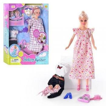 Беременная кукла Defa 8009 в длинном платье, с накладным животиком и двумя малышами в пеленках, два вида