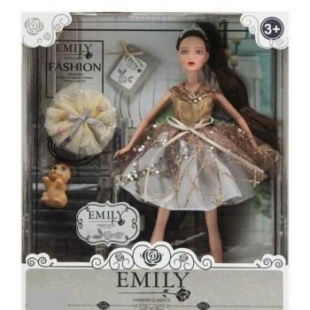 Длинноногая кукла Emily без шарниров в нарядном платье, с длинными темными волосами украшены короной QJ 090 A