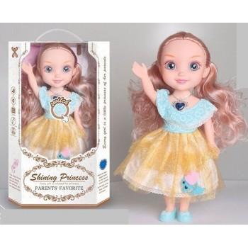 Большая кукла с длинными волосами, с медальоном в виде синего сердечка YL 005 A-8 с аксессуарами