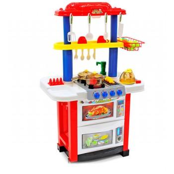 Детская игровая двухсторонняя кухня с набором посуды Happy Little Chef 768A, 83 см, свет-звук, течет вода
