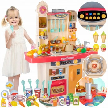 Большой игровой набор, кухня с водой, паром, звуком, световыми эффектами и аксессуарами 998-В (цвет, розовый)