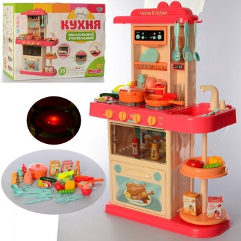 Детская игровая кухня для малыша 889-182 со звуком и светом, льется вода (38 предметов)