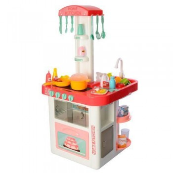 Большая детская кухня с духовкой и водой 889-59 розовая, 40 предметов