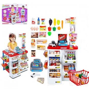 Детский игровой набор Магазин, со сканером, кассой, холодильником 668-02, со звуковыми и световыми эффектами