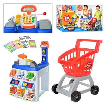 Детский супермаркет с кассовым аппаратом, калькулятором, тележкой, звуком и светом, 31621