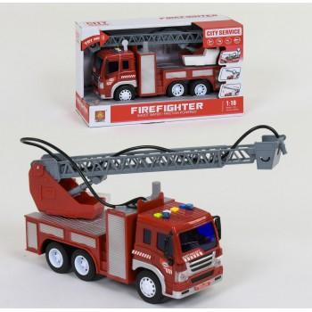 Игрушечная инерционная пожарная машина с водяной помпой, звуковыми и световыми эффектами WY 351 В