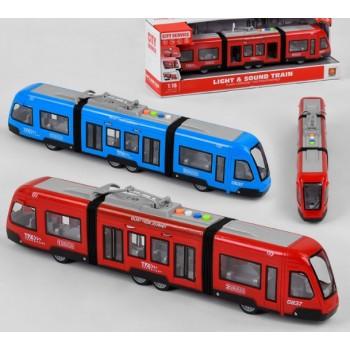 Игрушечный Трамвай WY 930 AB с подсветкой, звуком, двигается по инерции, масштабная модель (2 цвета)