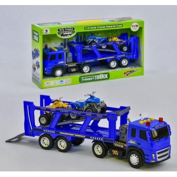 Инерционный автовоз-трейлер с двумя квадроциклами для мальчика с звуком и светом, работает от батареек 1188-43