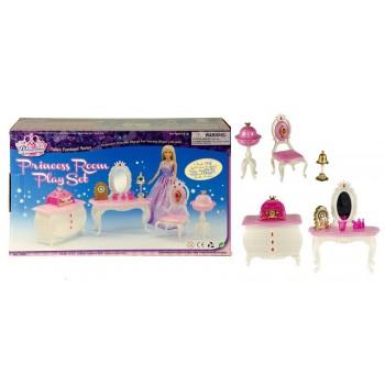 Игрушечный набор мебели Gloria Комната принцессы 1208 с трюмо, комодом, стульчиком и аксессуарами