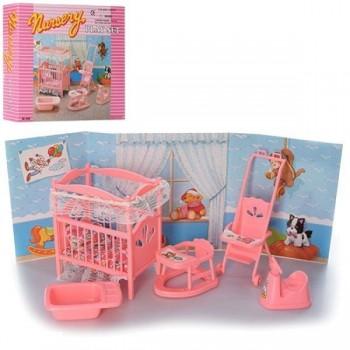 Игровой набор мебели Детская комната Gloria 9409 с кроваткой, коляской, ванночкой, ходунками и аксессуарами