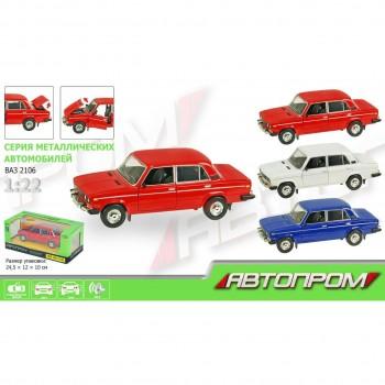 Автомодель металлическая Автопром ВАЗ-2106 (1:22) со световыми и звуковыми эффектами (3 цвета)