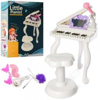 Детский многофункциональный синтезатор пианино на ножках J93-01 с стульчиком, караоке микрофоном и MP3