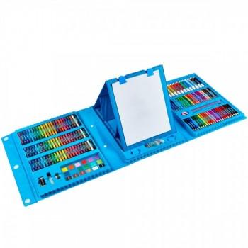 Большой набор для рисования в чемодане с мольбертом 208 предметов синий