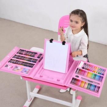 Детский художественный набор для рисования с мольбертом Чемодан творчества 208 предметов розовый