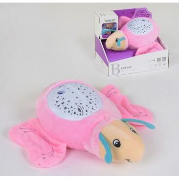 Детский мягкий ночник светильник Бабочка FM 666-12 с проектором звездного неба и колыбельными, розовый