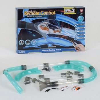 Автотрек трубопроводный с гоночной машинкой на радиоуправлении с яркой подсветкой D 2083-2 для мальчика