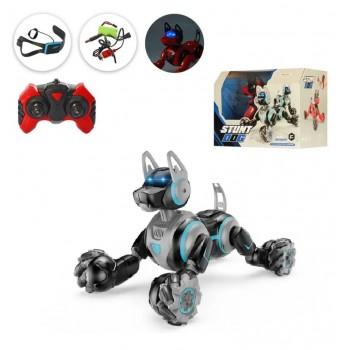 Интерактивная робот-собака для мальчика Stunt Dog 666-800A на радиоуправлении от браслета и пульта Черная