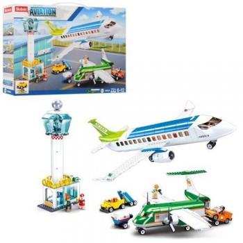 Детский конструктор SLUBAN M38-B0930 собирается в аэропорт, самолет и транспорт с фигурками (731 деталь)