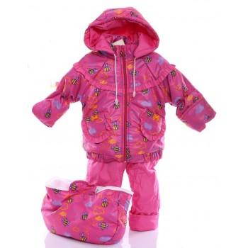Детский демисезонный костюм-тройка (конверт+курточка+полукомбинезон) малиновый с пчелкой