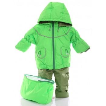Детский демисезонный костюм-тройка (конверт+курточка+полукомбинезон) салатовый