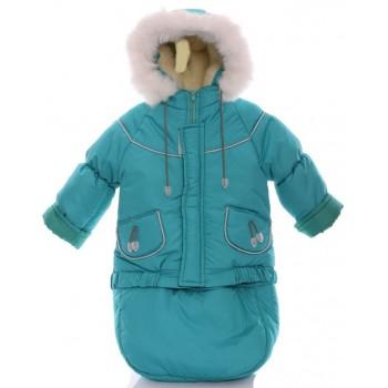 Детский костюм-тройка (конверт+курточка+полукомбинезон) морская волна