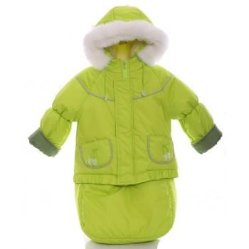 Детский костюм-тройка (конверт+курточка+полукомбинезон) салатовый