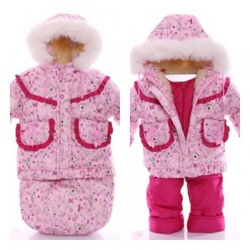 Детский костюм-тройка (конверт+курточка+полукомбинезон) Розовая принцесса