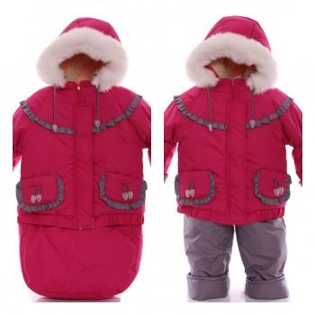 Детский костюм-тройка (конверт+курточка+полукомбинезон) малиновый