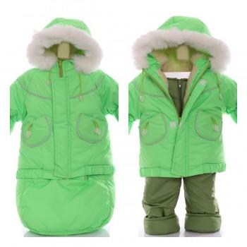Детский костюм-тройка (конверт+курточка+полукомбинезон) зеленый