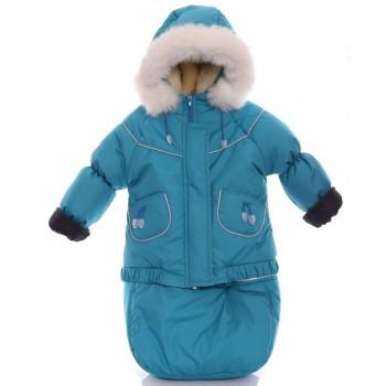 Детский костюм-тройка (конверт+курточка+полукомбинезон) светло бирюзовый