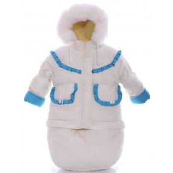 Детский костюм-тройка (конверт+курточка+полукомбинезон) белый с бирюзовым