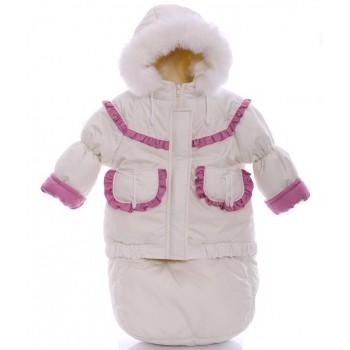 Детский костюм-тройка (конверт+курточка+полукомбинезон) белый с розовым