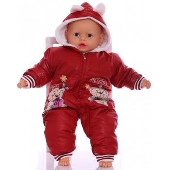 Зимний комбинезон для новорожденных Мишки красный