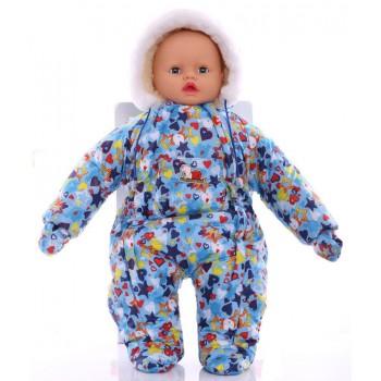 Зимний комбинезон для новорожденных (0-6 месяцев) голубой в звездочку