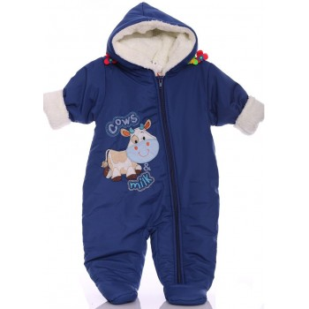 Зимний комбинезон для новорожденных Milka синий (размер 68)