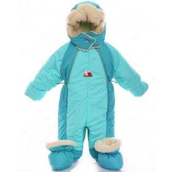 Детский комбинезон трансформер для новорожденных зимний Мятный с бирюзовым