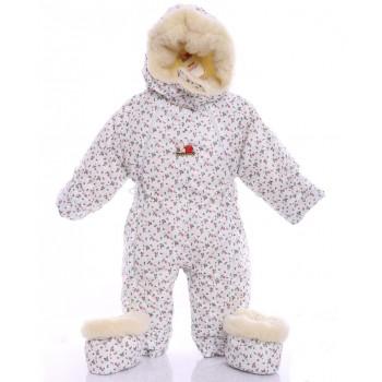 Детский комбинезон трансформер для новорожденных зимний (белый с розочками)