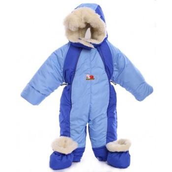 Детский комбинезон трансформер для новорожденных зимний Голубой с синим