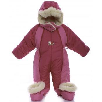 Детский комбинезон трансформер для новорожденных зимний Малиновый с розовым
