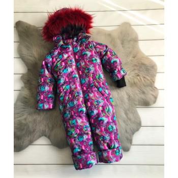 Детский зимний цельный комбинезон для девочки с искусственным мехом Нежная зефирка (размер 86 см)