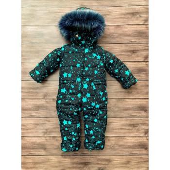 Детский зимний комбинезон для малыша Звезда мятная с искусственным мехом (размеры 86,92,98 см)