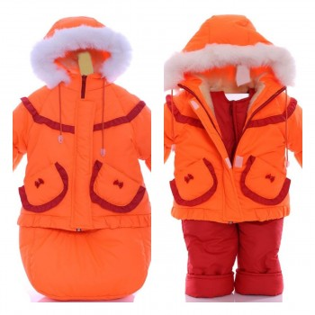 Детский костюм-тройка (конверт+курточка+полукомбинезон) оранжевый